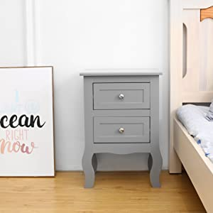 Grey bedside cabinet - lifestyle look