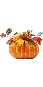 Thanksgiving Decorations Artificial Pumpkin with Maple Leaves