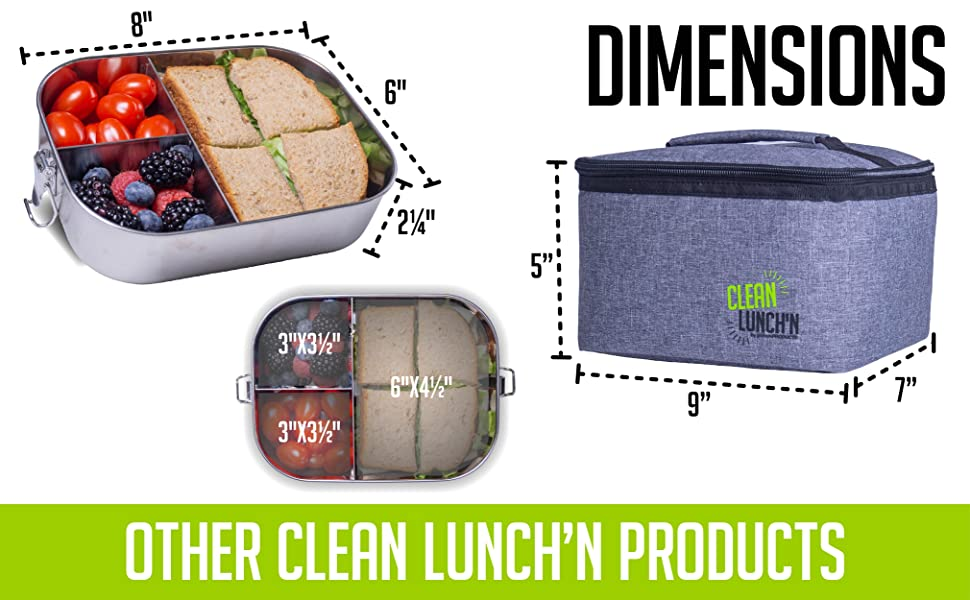 Clean LunchN Stainless Steel Lunch Container Dishwasher Safe Adjustable Large Two Sections Leak-Proof Lid Meal Prep Metal Bento Box for Kids or Adults 6 x 4 x 2.5 25 Oz
