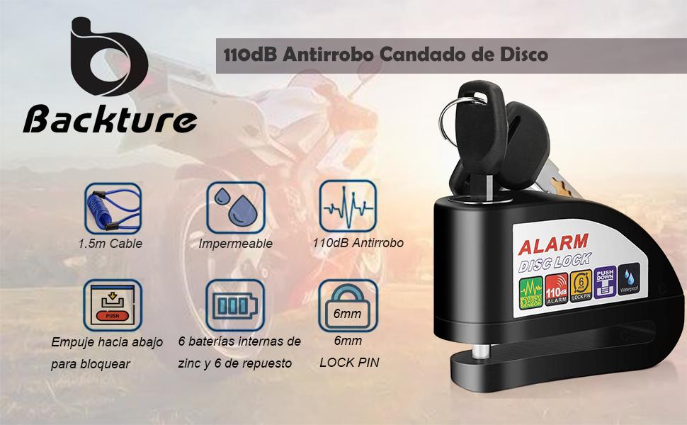 Candado Moto, 110dB Antirrobo Candado de Disco con1.5M Cable Enrollado y Candado Bolsa y 6 Batería Repuesto, Cerradura con alarma para Motos ...
