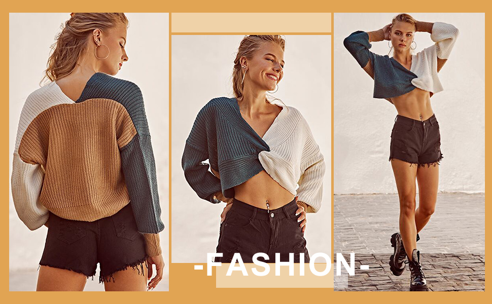 ZAFUL Plunge Color Blocking Twist Sweater