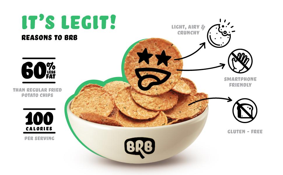 60% Less Fat 100 Calories Light Airy Crunchy Gluten Free Smart Phone Friendly  Legit