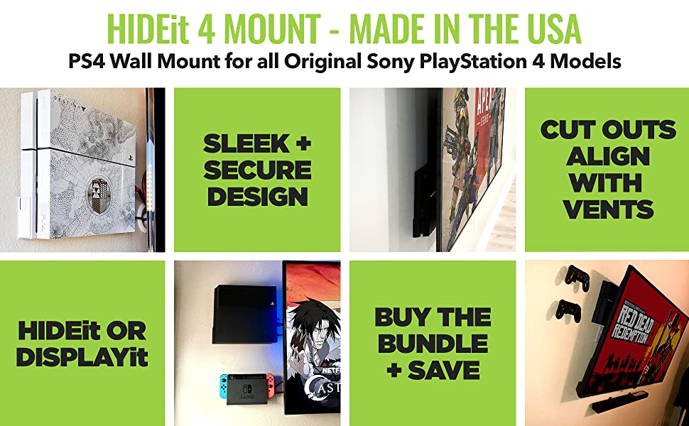HIDEit PlayStation 4 Wall Mount designed for Original PS4 Video game console