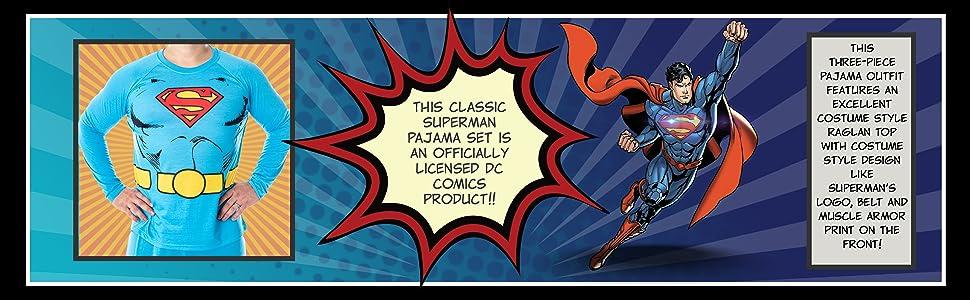 DC Comics Men's Superman Costume Raglan Shirt And Pants Pajama Set with Cape Holiday Gift Christmas