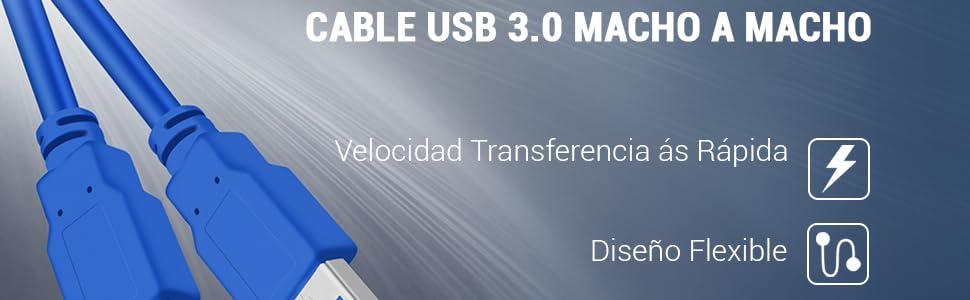 ULTRICS 1M Cable USB 3.0, Tipo A Macho a Type A Macho, Cable de ...