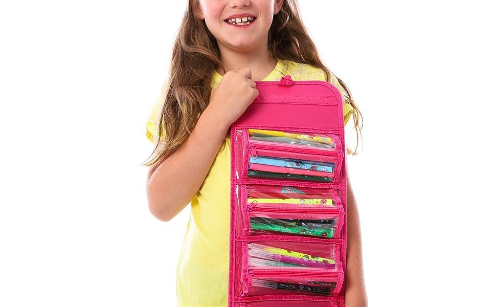 GirlZone Regalos para Niñas -Estuche Enrollable Rotuladores, Estuche Enrollable, 38 Rotuladores Perfumados, Scented Pens, Set De Papelería, Regalo ...