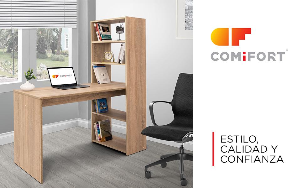 COMIFORT Escritorio con Estantería - Mesa de Estudio con Librería ...
