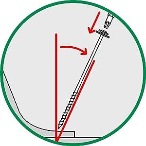 Schräg in den Boden schrauben, den Kopf vom Zelt abgewandt und bodenbündig einschrauben.