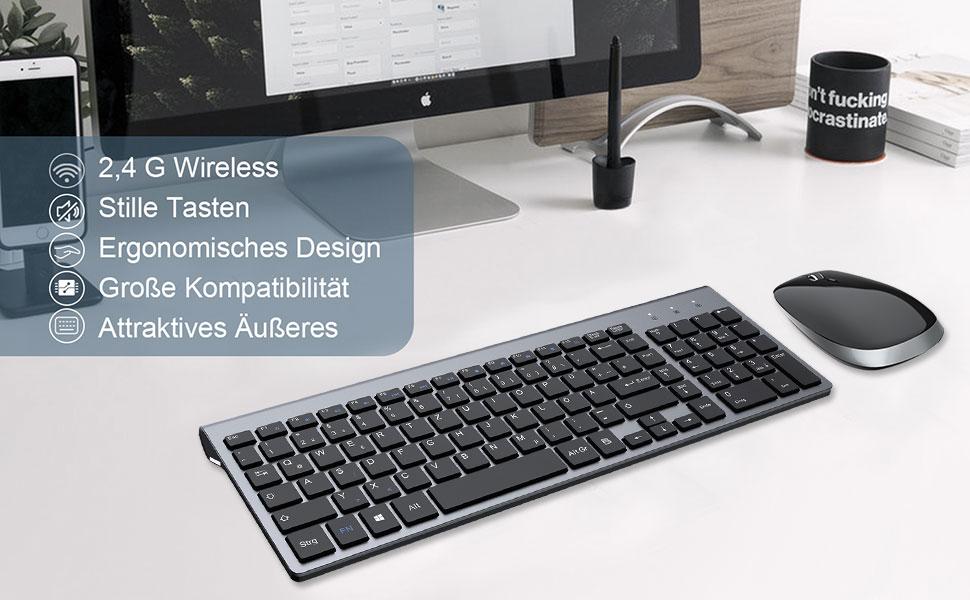 FENIFOX Teclado Mouse inalámbrico, USB QWERTY 2.4G ergonómico 2400 DPI con tecla susurrante para computadora, portátil, Smart TV, Mac, imac y Windows ...