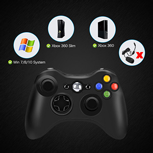 Wireless Controller for Xbox 360, 2.4GHZ Joystick Wireless Game Controller for PC Windows