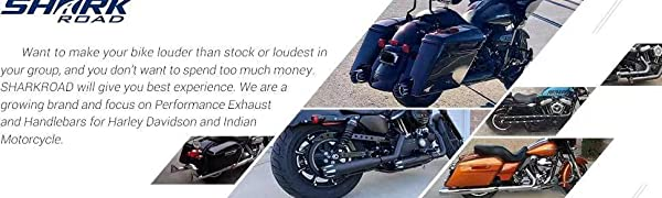 SHARKROAD 3002BB 3 Black Contrast High Flow Slip on Mufflers Exhaust For Harley Sportster 883 2014-2018