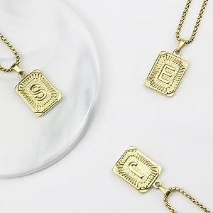 memgift gold letter necklace
