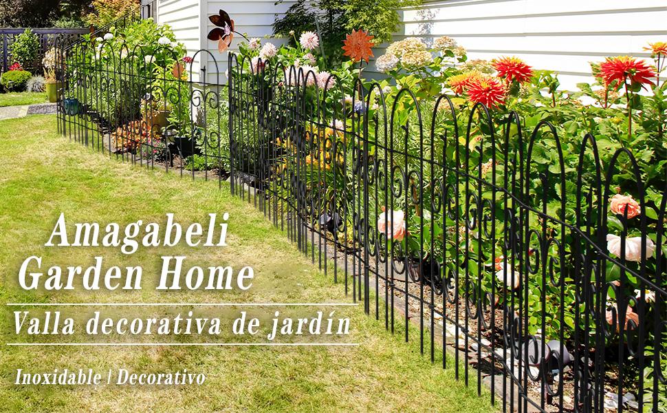 Amagabeli Valla 81CM X 38CM Jardín de Hierro - Set de 8 - Valla Decorativa Hierro para Jardín Metalicas Negro: Amazon.es: Jardín
