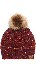 MIRMARU Women's Soft Stretch Cable Knit Warm Skully Faux Fur Pom Pom Beanie Hats