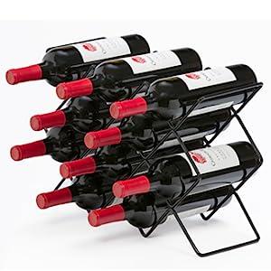 10 Bottle Counter Top Wine Rack Organizer Storage