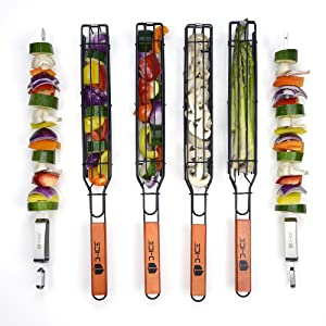 Kabob Grilling Baskets and Push-bar Stainless Steel Skewers