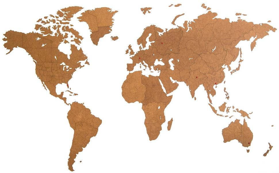 MiMi Innovations - Giant Decoración de pared de mapa del mundo de madera de lujo 280 x 170 cm - Marrón: Amazon.es: Hogar