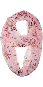 Christmas Holiday Pink Santa Infinity Scarf for Women and Girls
