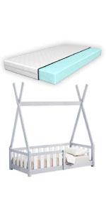Lit tipi helsingborg gris clair lit d'enfant 70x140cm grille anti-chutes matelas mousse à froid