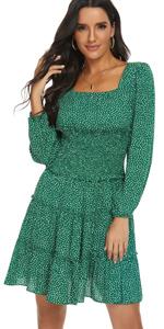 long sleeve polka dots dress