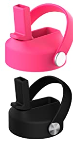 Pink and black straw lid