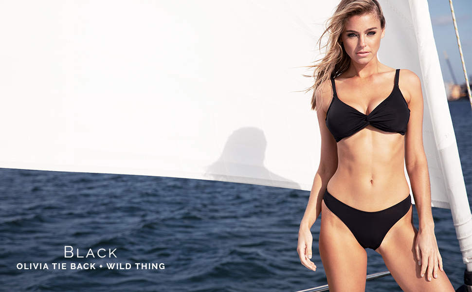 Sunsets Olivia Tie Back and Wild Thing in Black.