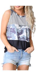 Kinlonsair Women's Crew Neck Spaghetti Straps Sleeveless T-Shirt Summer Colorblock Tank Tops