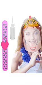 Princess Kids Face Shield w/Heart Slap Bracelet Wristband Hand Sanitizer Dispenser | Kid Safety Set