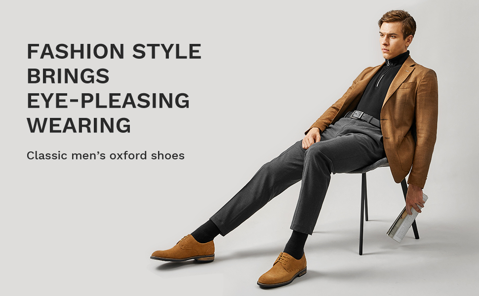 Plain-toe oxford featuring midsole stripe, suede upper and lace-up front closure
