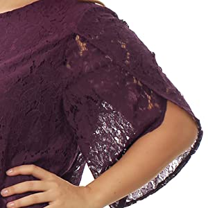 Women's Plus Size Tulip Sleeve Shift Floral Lace Dress