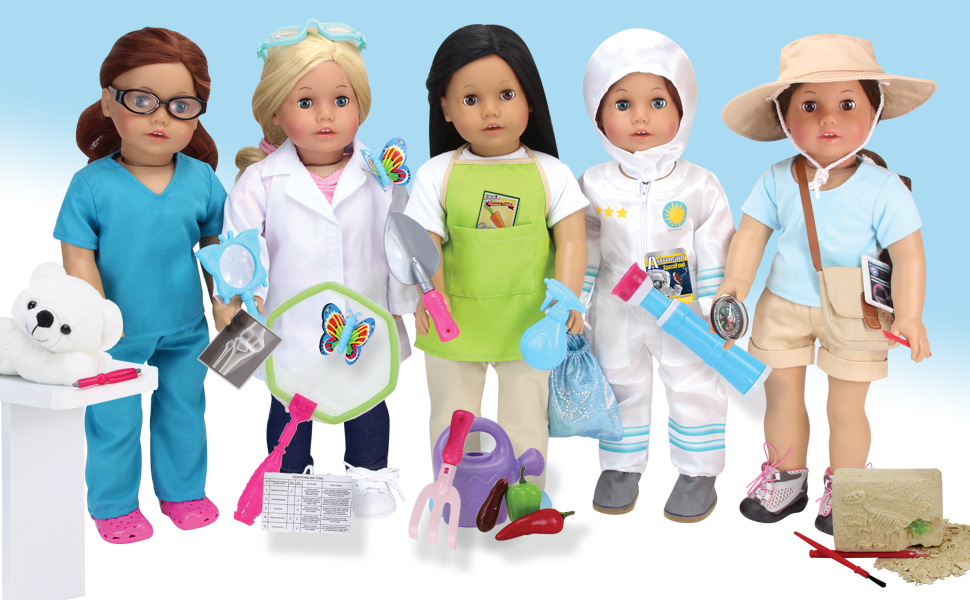 Smithsonian Paleontologist 10pc Set Shoot for the Moon for American Girl Doll 18