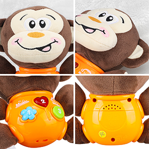 Educational Baby Toy Musical Toy for Baby 0 to 18 Months Monkey STEAM Life Plush Elephant Baby Toys Baby Light Up Toys Educational Musical Toys for Infants Babies Toddlers 0 3 6 9 12 Month