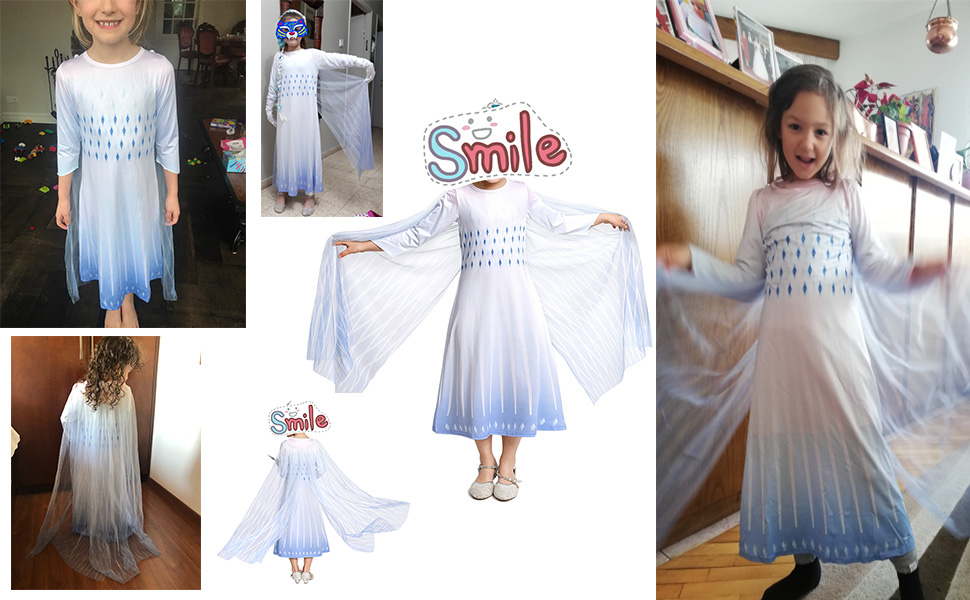 Debispax Princess Cosplay Costume Snow Queen Party Halloween Dress for Girls