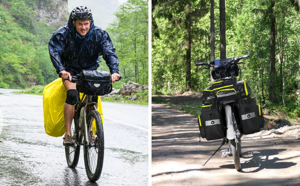 Pellor 70L Bolsa para Bicicleta, Bolsa para Bolsa multifunción para Bicicleta 3 en 1, Bolsa Trasera Impermeable y extraíble con Funda Impermeable para ...