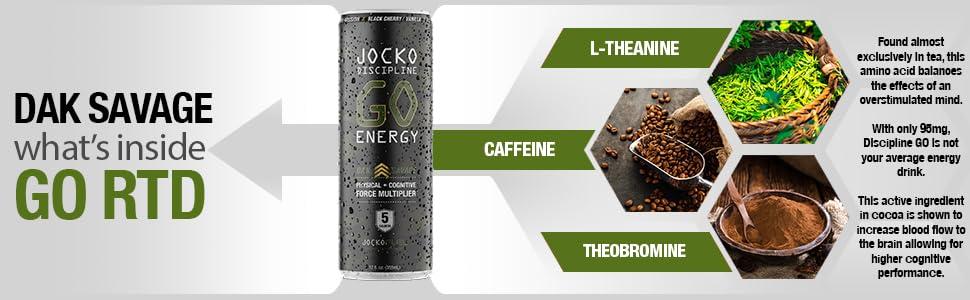 natural energy drink caffeine l-theanine zero sugar free monk fruit sweetener black cherry flavor