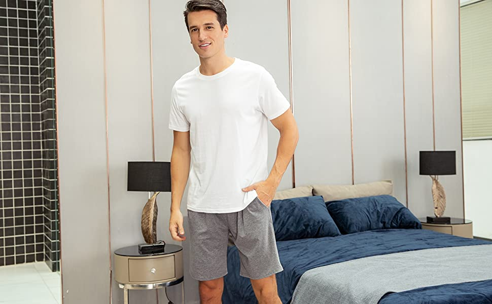 Aibrou Men's Sleep Shorts Cotton Knit Button Fly Pajama Short with Pockets
