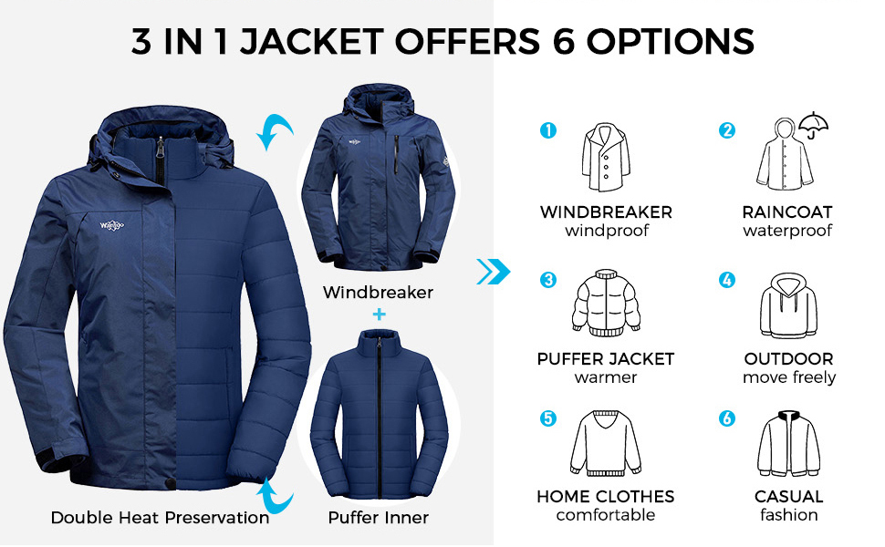 Wantdo Women's 3-in-1 Waterproof Ski Jacket Interchange Windproof Puffer Liner Warm Winter Coat