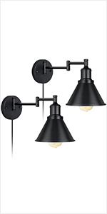 2 Lights Plug-in Cord Industrial Adjustable Wall Sconce
