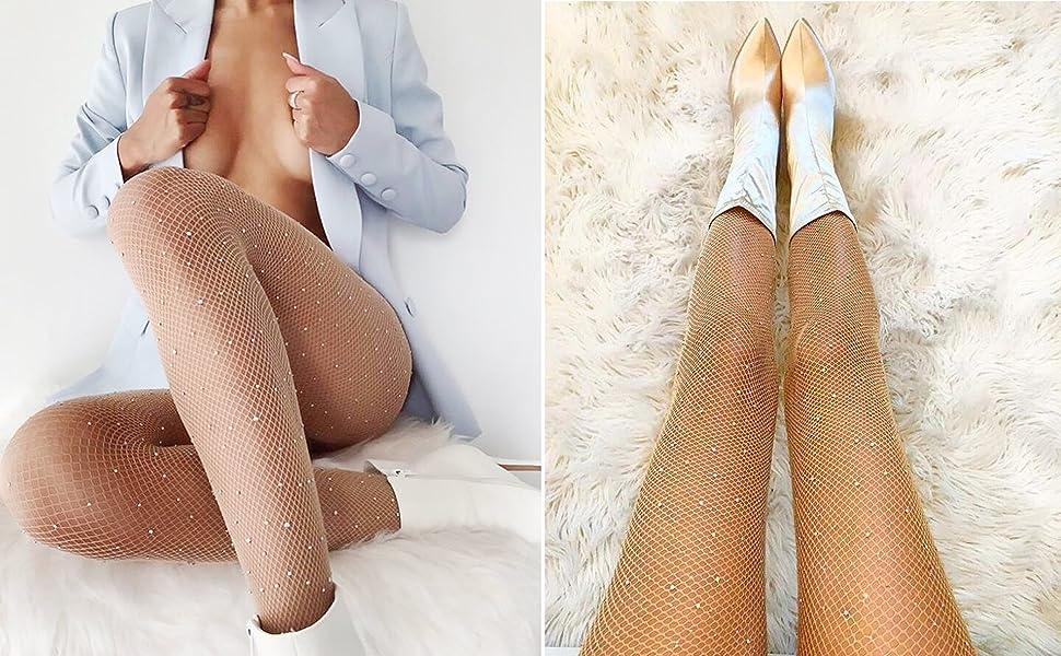 collant,Calze a vita alta,Collant collant moda,Calze di strass scintillanti,calze aderenti a rete