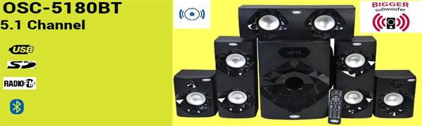 """OSCAR OSC-5180BT 5.1 Channel Multimedia Speaker System 8""""SW with Bluetooth, Digital FM Radio (Black)"""