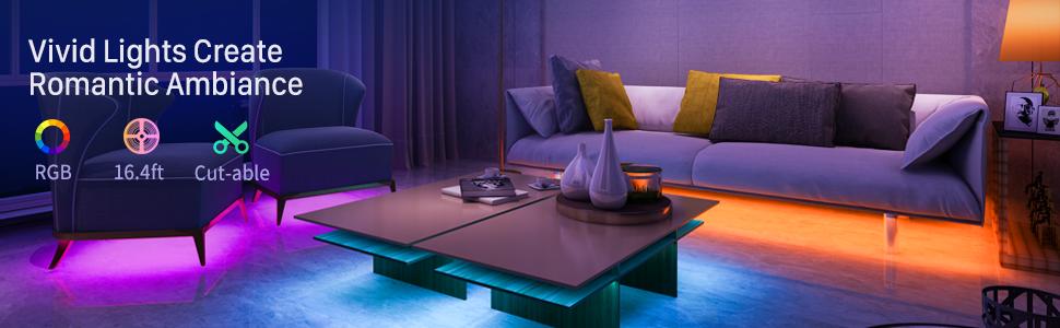 16.4ft / 5m strip light for Room,Bedroom, TV, Ceiling, Cupboard Decoration, Bright 5050 LED