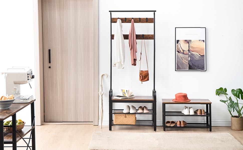 f/ür Eingangsbereich Schuhablage mit 3 Ebenen Schuhregal zum Sitzen IBUYKE Schuhbank 73x30x45 cm Diele Wohnzimmer Schuhschrank Industrie-Design TMJ004H Metallrahmen