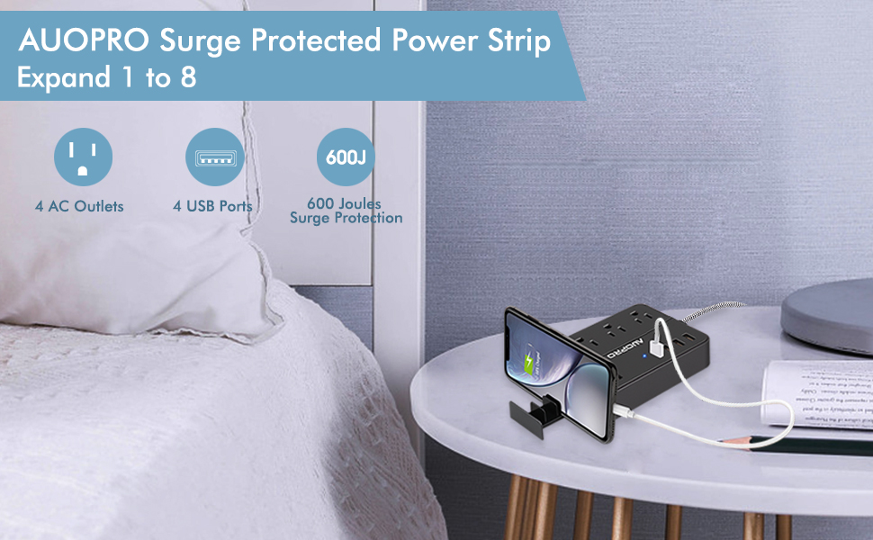power strip surge protector with usb ports on bedside charging iphone