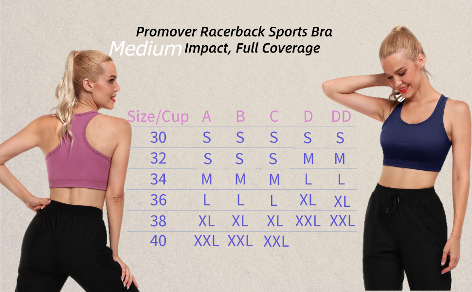 Promover Size Chart for Sports Bra