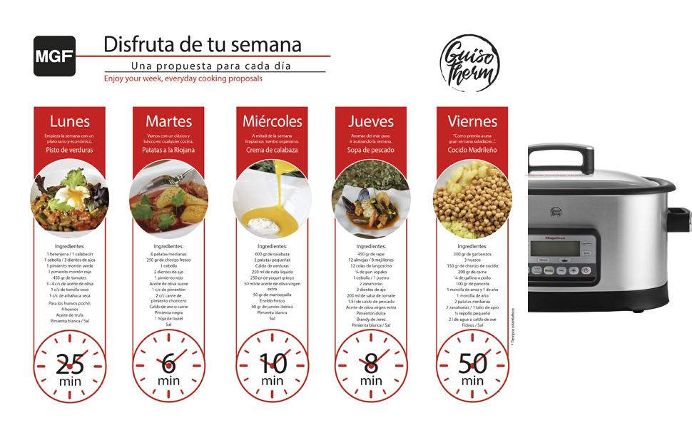 MAGEFESA Olla eléctrica de cocción Tradicional GUISOTHERM 6L 1200 W, Incluye Libro de Cocina con Recetas, Recipiente extraíble Anti adherente, Apto para lavavajillas, Tapa de Vidrio (Aluminio): Amazon.es: Hogar