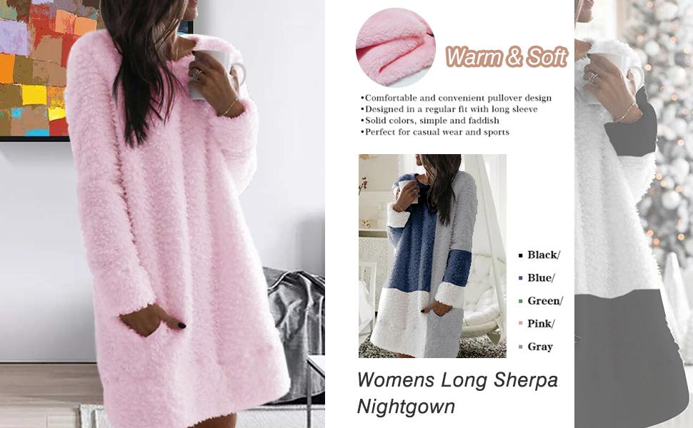 Women Long Sherpa Pullover Color Block Fuzzy Fleece Tunic Sweatshirt Dress Oversized Fluffy Coat