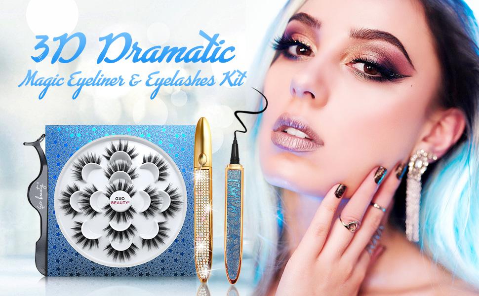 7 Pairs of Dramatic Eyelashes with Eyeliner Kit