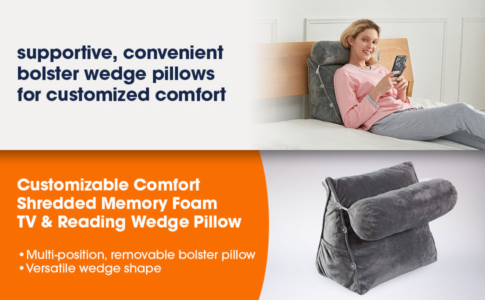 Cheer Collection Customizable Comfort Shredded Memory Foam TV & Reading Wedge Pillow