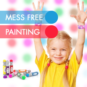 girl painting with bingo daubers dot markers for kids