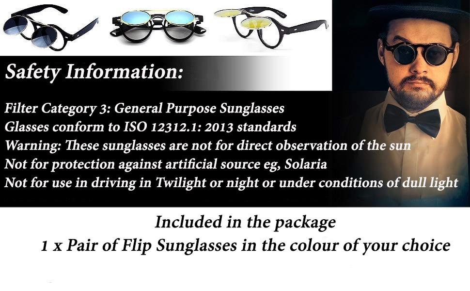 Black Aqua Flip up Circle Steampunk Glasses Goggles Cyber Sunglasses Retro UK